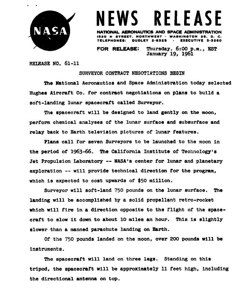 nasa surveyor press release 1 our space heritage 1960 2000