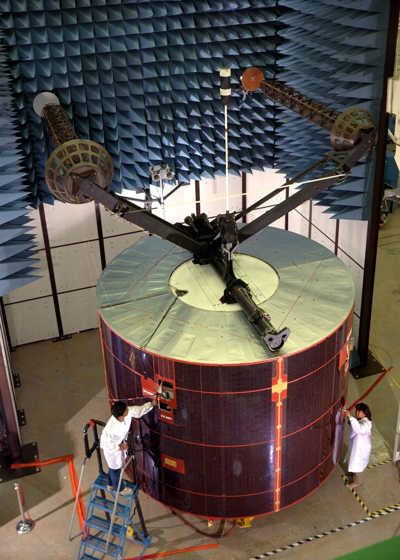 Leasat F-5 in Anechoic Chamber for Full RF Power Testing