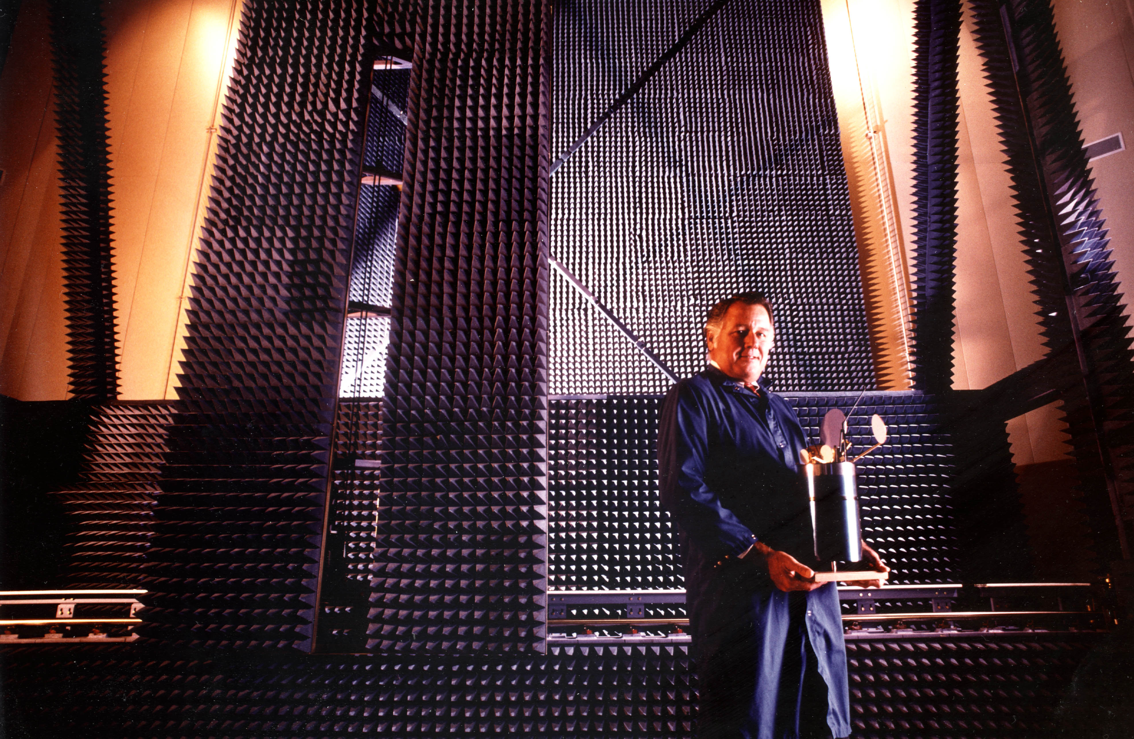 In the Anechoic Chamber With Intelsat VI Model