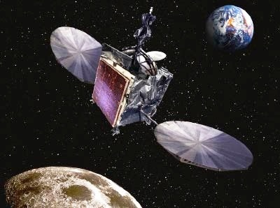 Artist's Rendering of AsiaSat-3/HGS-1 During a Lunar Flyby
