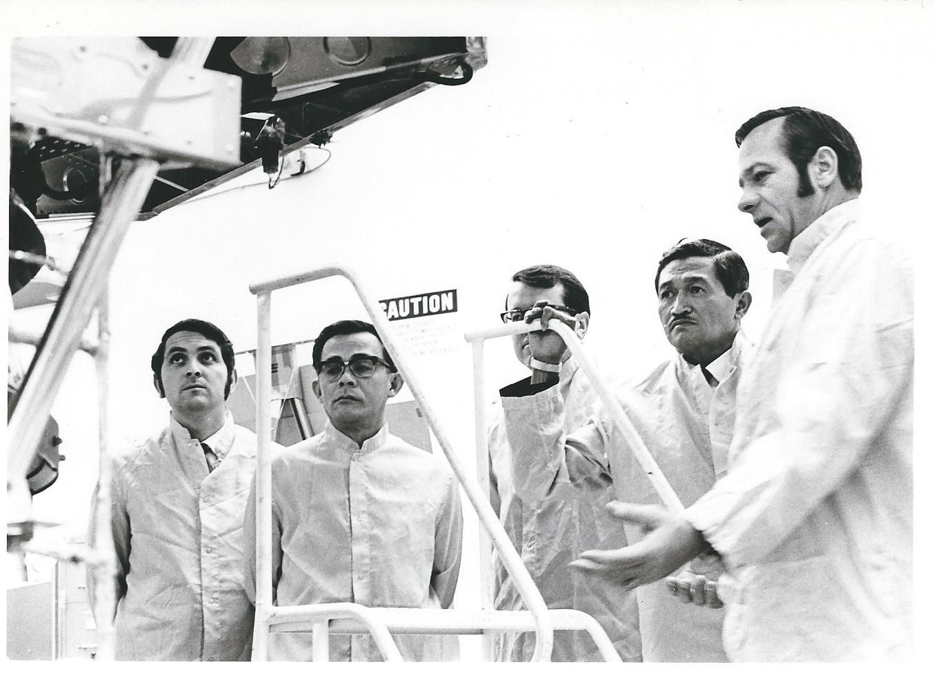 Figure 2. Facilities Tour April 1971 –Left to right: Will Turk, Suttangar Tengker, Dick Brandes, General Soehardjono and Ralph Mitchell